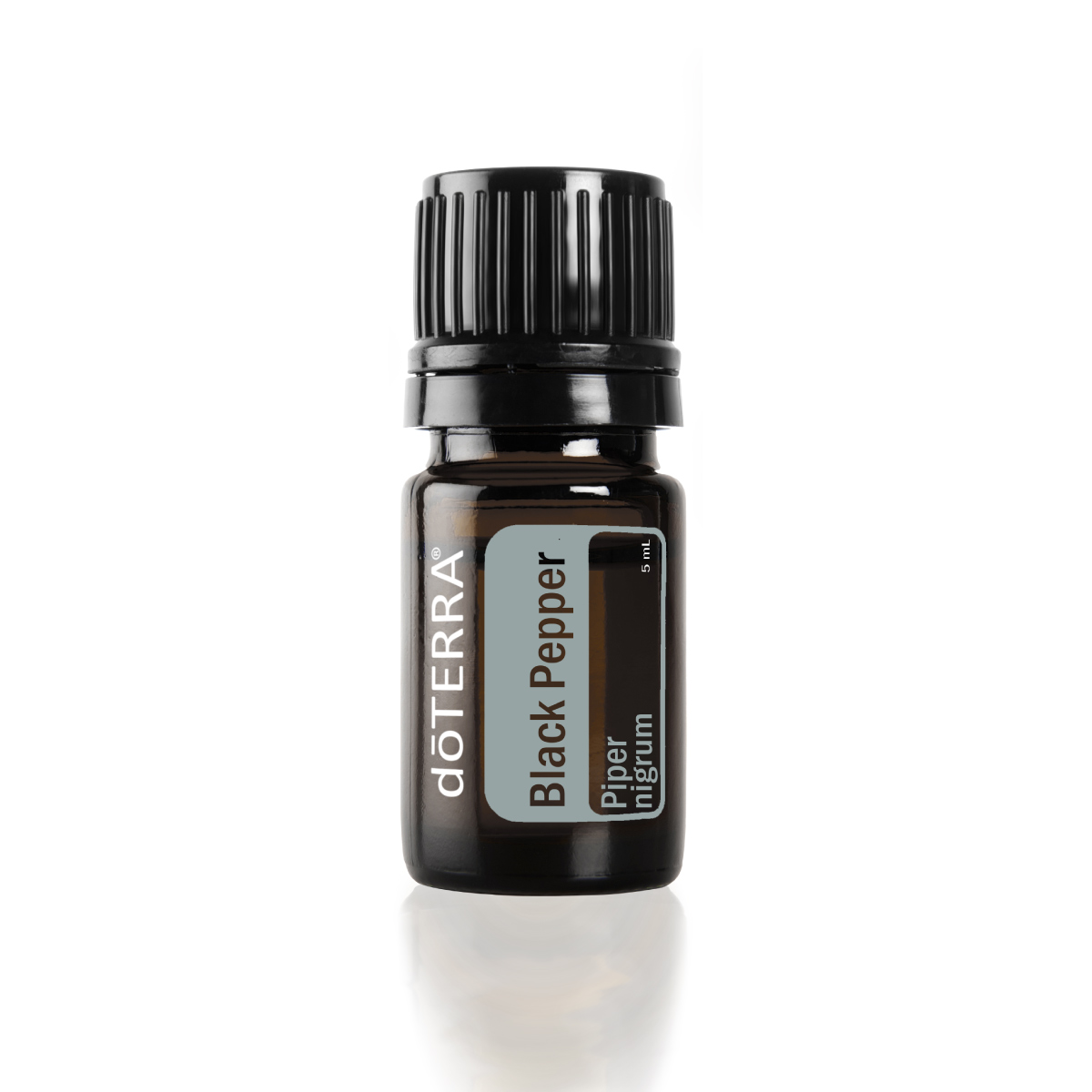 Bottle of doTERRA Black Pepper essential oil. What is Black Pepper oil used for? doTERRA Black Pepper oil is useful for cooking, providing antioxidants, and creating a soothing massage.