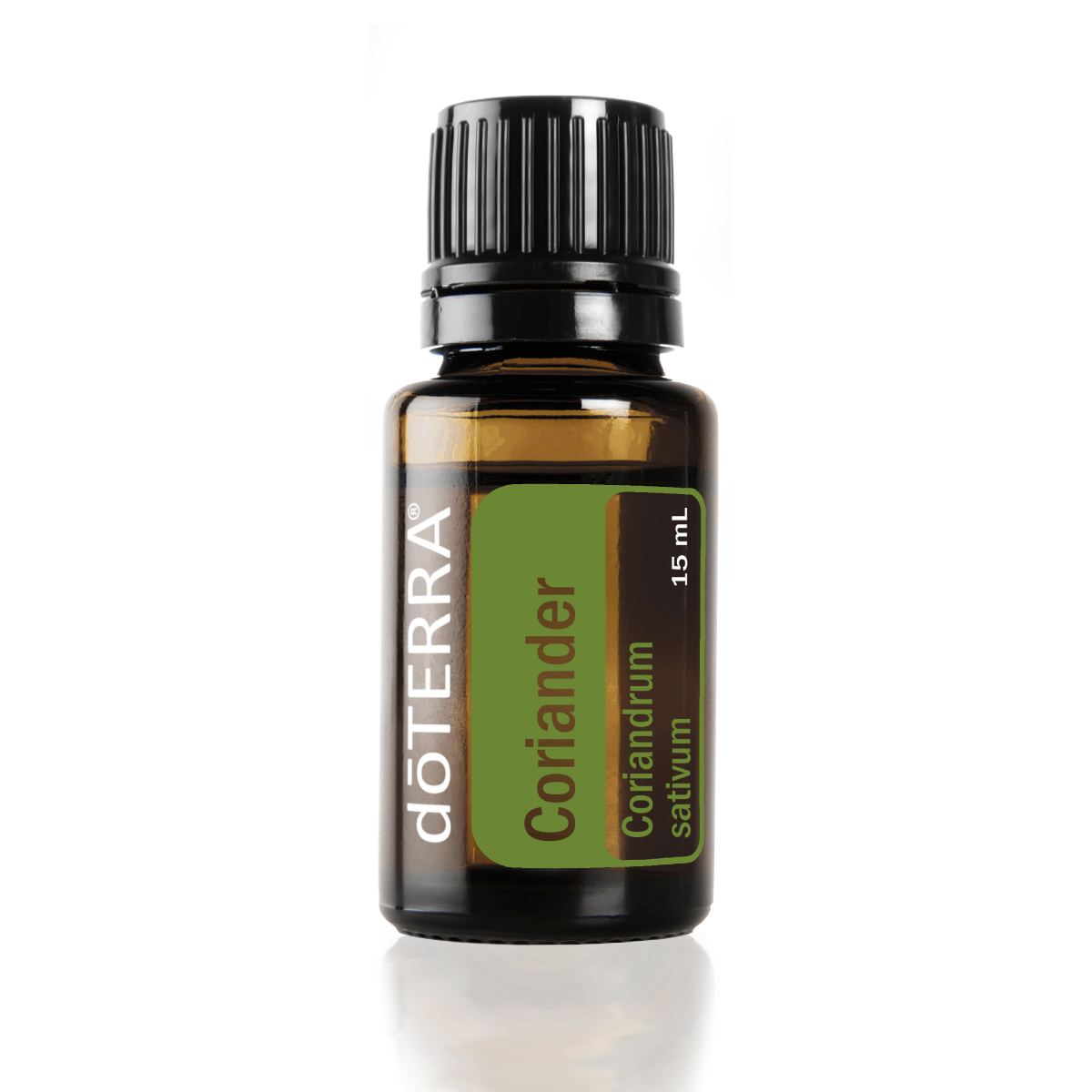 Bottle of doTERRA Coriander essential oil. What are the benefits of Coriander oil? People use Coriander essential oil to aid in digestion, promote a clear complexion, and boost mood.