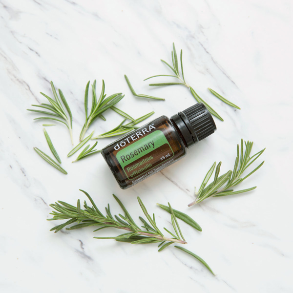Granite backdrop, green rosemary herbs, doTERRA Rosemary essential oil bottle. Many people use rosemary essential oil for hair as it helps to promote a full, healthy-looking head of hair.