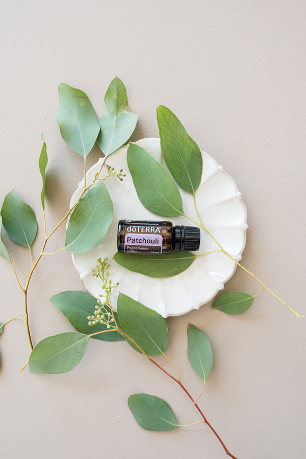 Bottle of doTERRA Patchouli oil, white plate, green leaves. Patchouli essential oil has many benefits, especially for the skin and mouth.