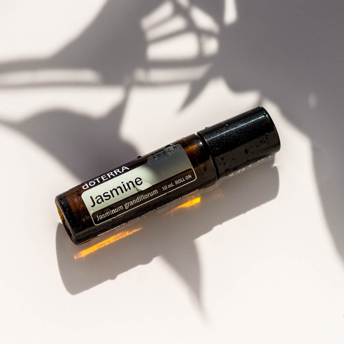 Bottle of Jasmine oil and shadows of a plant. Jasmine oil is good for skin and can help reduce the appearance of skin imperfections to create a glowing complexion.