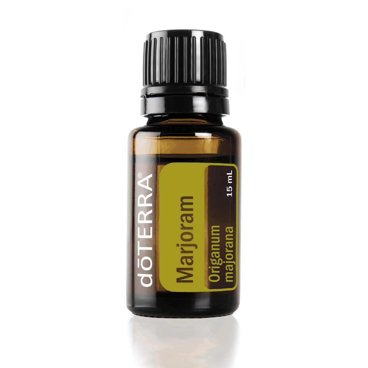 Bottle of doTERRA Marjoram essential oil. What are the benefits of Marjoram oil? Marjoram oil has benefits for massage and potential internal benefits.