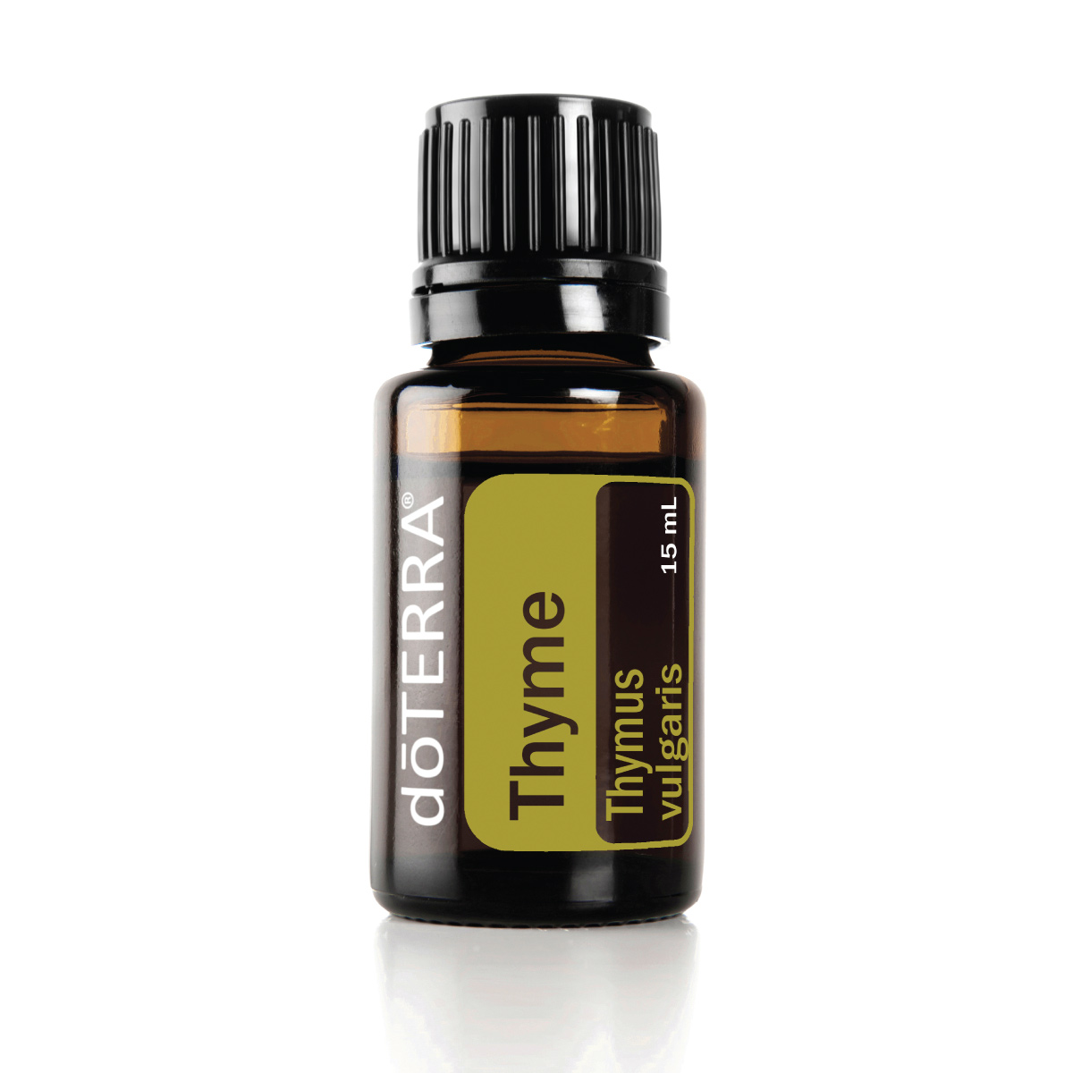 Bottle of doTERRA Thyme essential oil. What are the benefits of Thyme oil? Thyme oil provides antioxidants, supports the immune system, and can repel insects.